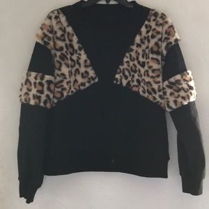 Black sweater with leopard